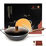 WANGYUANJI Wok Pan Cast Fine Iron Wok Round Bottom 12.59' (Cleaning Cloth & Brush for Free) Chinese Traditional Iron Pot with Detachable Wooden Handle Practical Gift
