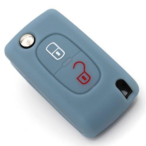 Finest-Folia Coque de clé de voiture en silicone PEA pour 2 boutons Gris cendre