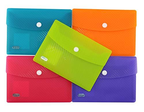 ELBA Urban Brieftaschen A6, aus Kunststoff, mit Druckknopf, transparent, farbig sortiert, 5er Pack