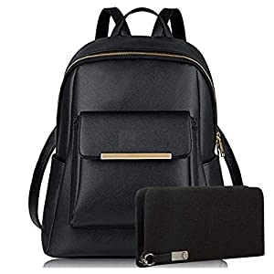 Glory Fashion Stylish Pu Girls School/ College Casual Backpack And Wallet Clutch Combo(Black)