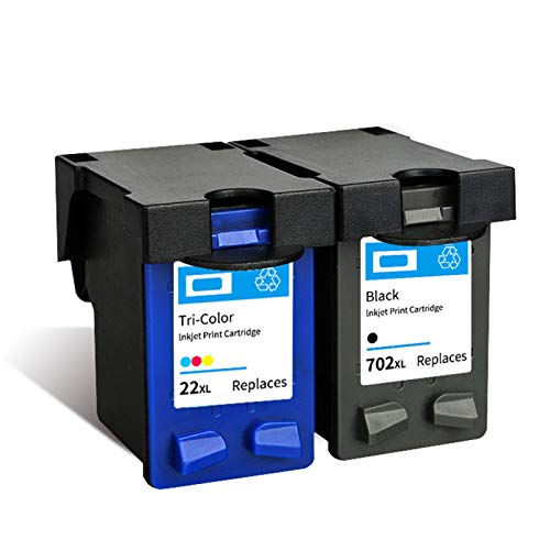 Reemplazo de cartuchos de tinta remanufacturados 702XL 22XL, para impresora HP J3508 J3606 J3608 J5508 1* negro 1* color