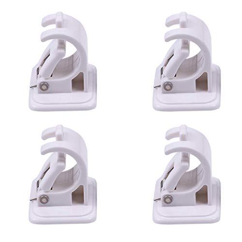 4 Stück Befestigung Stangenhalter, nagelfreie Smart Rod Halterungen, Handtuchstange Draperie Haken Halter Gardinenstange Wandhalterungen, selbstklebende Halterung Stange für Badezimmer, Waschraum