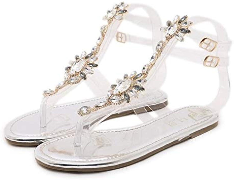shoes Woman Sandals Women Rhinestones Chains Flat Sandals Thong Crystal Flip Flops Sandals Gladiator Sandals 43, Silver,US6EU37235