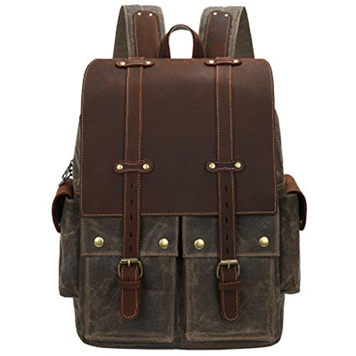 LWSS 15.4-Inch Laptop Backpack Retro Waterproof Crazy Horse Leather Outdoor Travel Men's Women's Gifts 12.59x5.9x18.11in/ArmyGreen