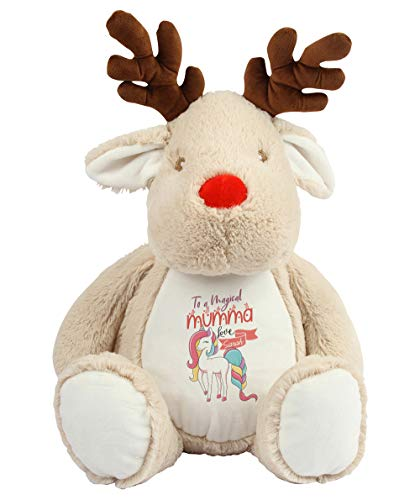 Personalised With Any Name Unicorn Themed To A Magical Mumma Gift For Mother's Day, Mum's Birthday, Mom, Mummy, God Mother Teddy Bear Plush Soft Toys. (Reindeer)
