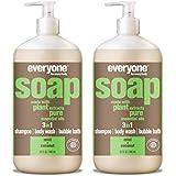 Everyone 3-in-1 Soap - Body Wash, Shampoo, Bubble Bath - Mint + Coconut - 32 Ounces - 2 Count