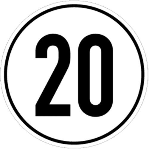 Schild Geschwindigkeitsschild, 20 km/h, Alu, Ø 20 cm