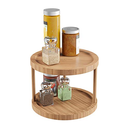 Lavish Home Classic Cuisine Lazy Susan – All-Natural Bamboo Round Two Tier Turntable Kitchen, Pantry and Vanity Organizer and Display with 10 Inch Diameter