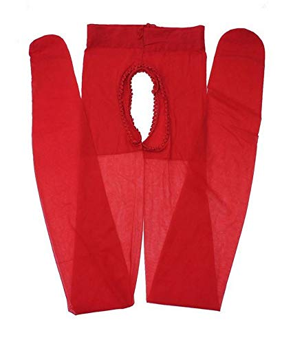 Medias sexy color rojo abierto en la entrepierna delantera y trasera talla M