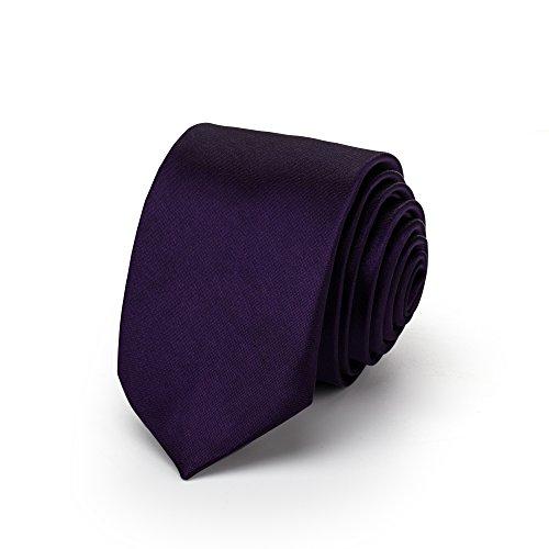 Rusty Bob Krawatte schmal/dünn 3cm-5cm für Herren [auch für Kinder/Jungen] (uni,nicht gestreift) aus Polyester glänzt wie Seide (Lila)
