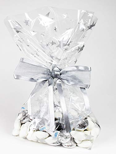 Saybrook Products Silver Stars Cellophane Treat/Party Favor Bags with Twist-Tie Organza Bow. Perfect for Christmas & Hanukkah Holidays. Set of 10 Gusseted 11x5x3 Goodie Bags with Bows, Silver/Clear
