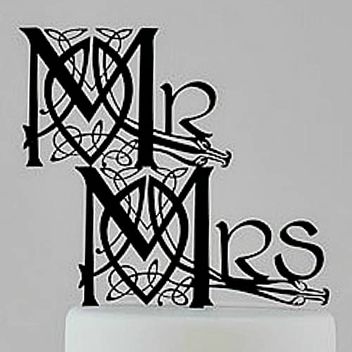 Tamengi Irish and Scottish Celtic Knotwork Mr and Mrs (Mr Mr and Mrs Mrs) Wedding Cake Topper, Made in The USA