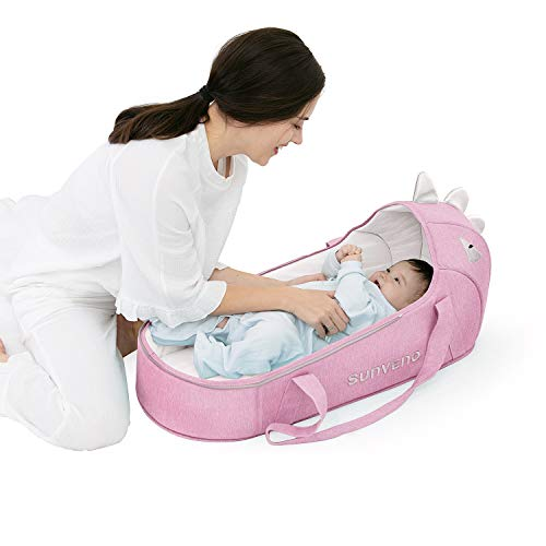 Baby Portable Crib Lounger, SUNVENO Baby Travel Bed Dinosaur Infant Sleep Aide Newborn Bedside Sleeper Change Station, Foldable Carrycot Indoor & Outdoor, 0-12 Months (Pink)