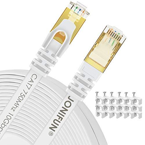30m Câble Ethernet CAT7 Câble Réseau RJ45 10Gbps 750MHz STP Blindage Compatible Cat5/Cat5e/Cat6/Cat6a pour Routeur,Switch,TV Box,PC - 30 Mètres Blanc - avec des Cordon Clips