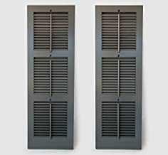 Timberlane Outdoor Cedar Shutter Pair with Operable Louvers - Painted Green 18