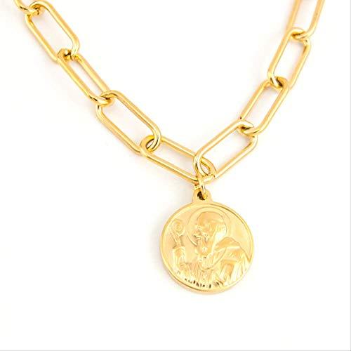 Inveroo Collar De Gargantilla Larga con Medalla De San Benito, Collares para Mujer, Abalorios De Retrato De Padre Y Sacerdote, Acero Inoxidable 55Cm