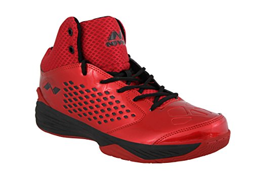 Nivia Warrior Men's PU Synthetic Leather 1 Basketball Shoes, 8UK (Red Black)
