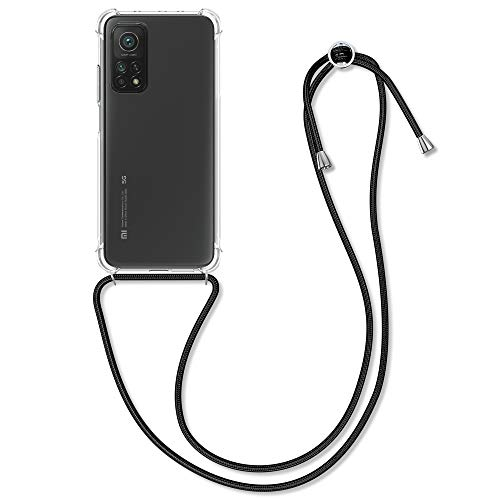 kwmobile Necklace Hülle kompatibel mit Xiaomi Mi 10T / Mi 10T Pro - Hülle Silikon mit Handykette - Band Handyhülle Schwarz Transparent