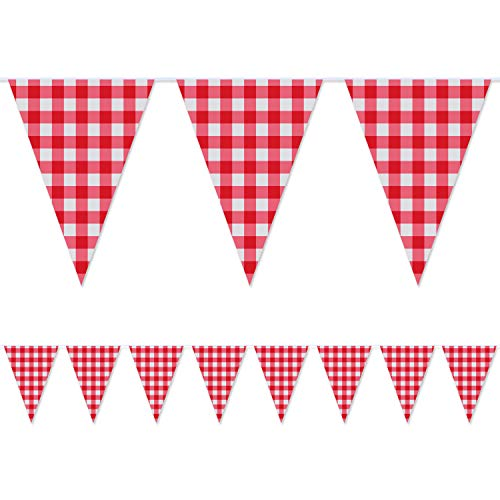 2 Pieces Large plastic Red and White Checkered Gingham pennant banner,Large Gingham Triangle Banner Red and White Banner for Picnic Birthday/Christmas Party Decoration Supplies-32.8 feet
