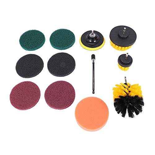 LUOSHEN 12 Piece Drill Brush Scrub Pads Power Scrubber Brush with Extended Long Attachment All Purpose-Cleaner Scrubbing Cordless Drill for Cleaning Pool Tile