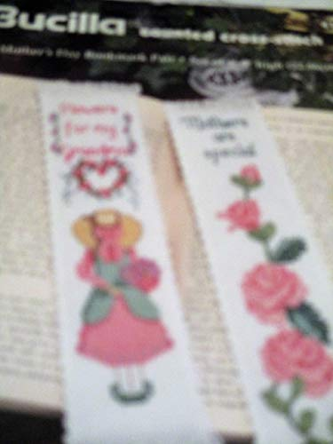 Bucilla Mother's Day Bookmark Pair Counted Cross Stitch Flowers for My Grandma Mothers are Special