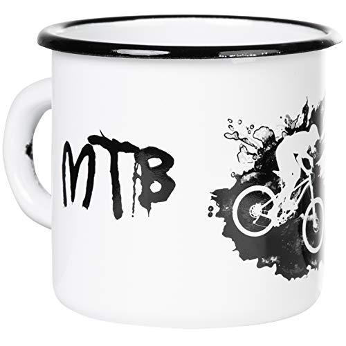 Mountainbike MTB - Hochwertiger Emaille Becher mit coolem Dirt-Design und - Live slow ride fast - Spruch - leicht und robust - von MUGSY.de