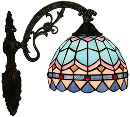DIMPLEYA Lámpara De Pared Estilo Tiffany Pastoral Europea Antiguo Celosía Azul Lámpara De Pared De Vitrales Hechos Vidrio Sola Lámparas Pantalla Lámpara Retro Hierro Forjado Mano Una Cabeza De A