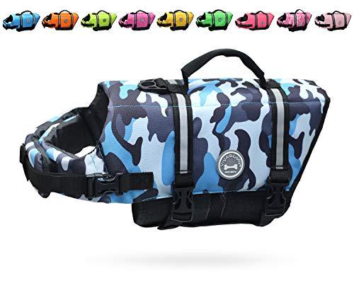 Vivaglory Ripstop Dog Life Jacket, Reflective & Adjustable Preserver Vest with Enhanced Buoyancy & Rescue Handle, Pink, S