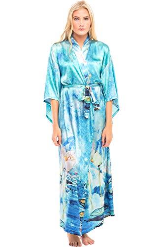 Alexander Del Rossa Women's Long Satin Kimono Robe, XL Watercolor Raindrops (A0462W21X)