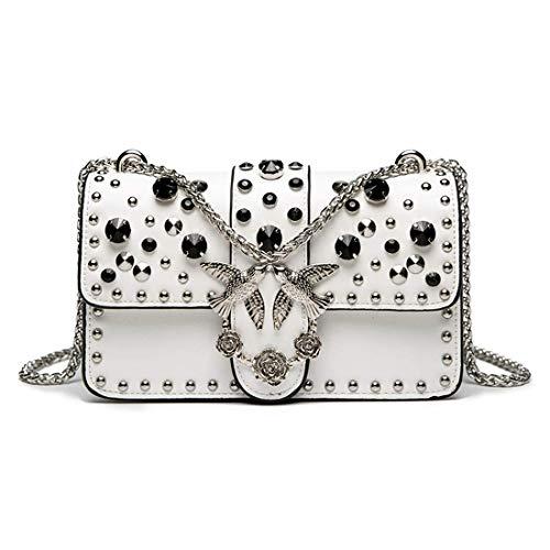 Pinko Love Bag, Decorazione con strass borchiati, borsa a tracolla da donna fatta a mano, raffinata e alla moda (bianco)
