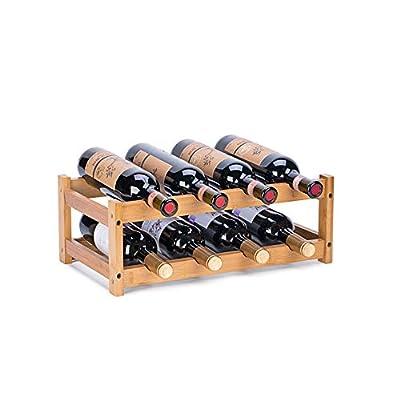 FOSTERSOURCE Wine Rack, Natural Bamboo Storage Rack Freestanding Countertop Stackable Display Shelf Wine Bottle Holder