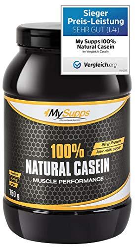 MySupps- 100% Natural Casein, hochwertiges & bioaktives Night Protein, hochdosiertes Aminosäureprofil + Vitamin B6, Mineralkomplex für Sportler, Made in Germany-750g Pulver
