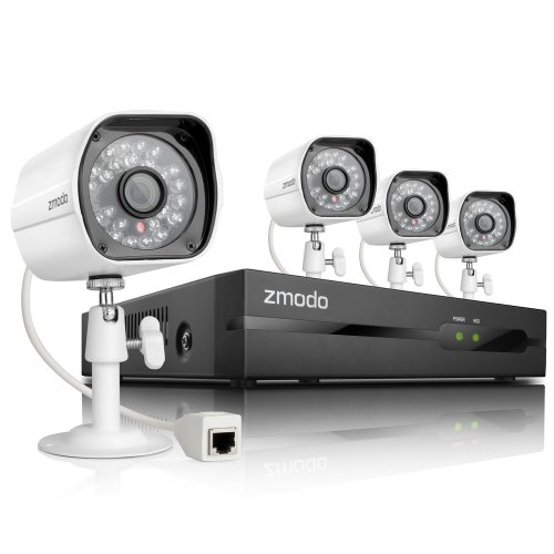 Zmodo Simplified PoE Security System - 4 Channel NVR & 4 x 720p IP Cameras and 1TB Hard Drive