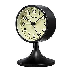 Chelvee Alarm Clock, Vintage Time Clock, 3 Inch Quartz Battery Operated Loud Alarm Clock (Black)