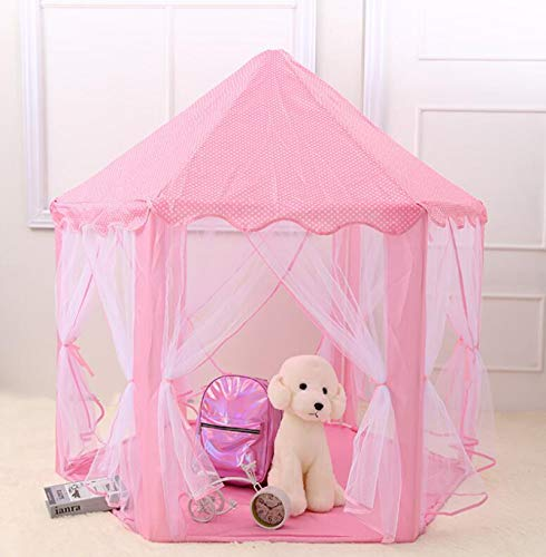 DKZ Princess Tent for Girls Castle Play Tents,Tulle Hexagonal Tent Baby Decoration Play House,Pink Play Tent Toy for Indoor And Outdoor Play,Pink