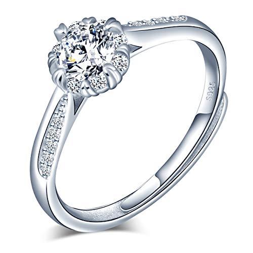 CPSLOVE Anelli donna in argento sterling 925, Anello di zircone, misura regolabile, Elegante anello nuziale, anello di fidanzamento