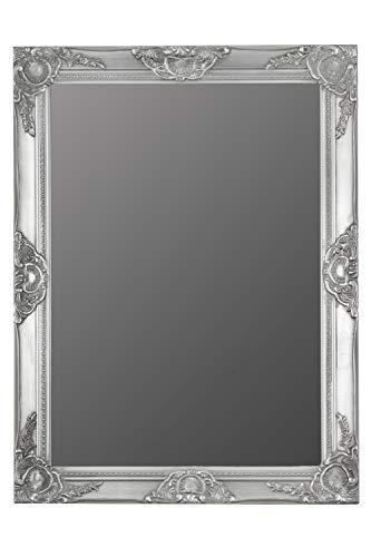 elbmöbel.de - Espejo de pared rectangular rústico con marco de madera envejecido con bordes biselados, ideal para el cuarto de baño, maquillarse y peinarse (62 x 52 cm), color dorado, madera, plata, 82 x 62cm