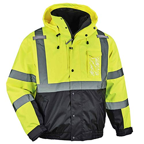 Ergodyne Mens 2X-Large Lime High Visibility Reflective Bomber Jacket with Zip-Out Black Fleece