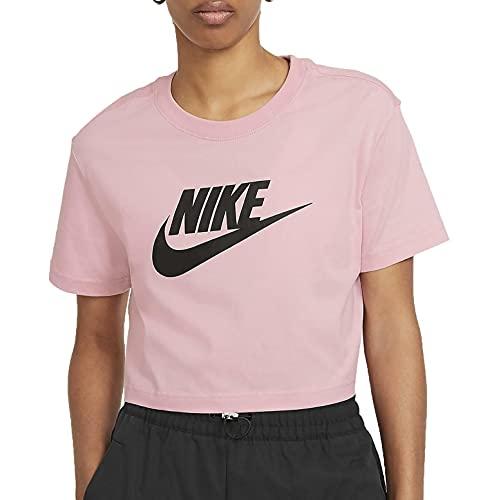 NIKE Essential Crop Icon Futura T-Shirt, Pink Glaze/Black, S para Mujer