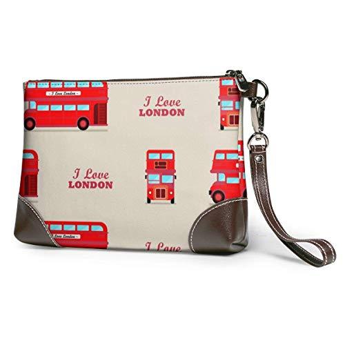 NA London City Bus Damen Echtes Leder Großes Quadrat Handgelenk Brieftasche Handytasche Clutch