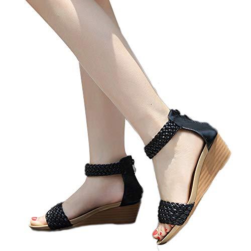 SHE.White Damen Böhmen Weberei Keil Sandalen Einfarbig Sandaletten Plattform Sommerschuhe Outdoor Sandals mit Reißverschluss 35-41(China Größe)