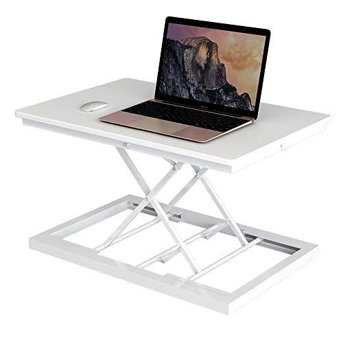 MOMD Steh-Sitz Schreibtisch Ultra Dünn Höhenverstellbarer Schreibtischaufsatz Tragbar Stehpult Schreibtischaufsatz für Laptop Monitor Keine Installation ErforderlichWhite