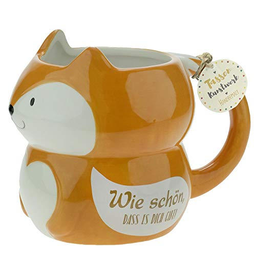 Die Geschenkewelt 46342 Figurentasse Fuchs, Dolomite, 50 cl, Geschenk-Tasse, Orange