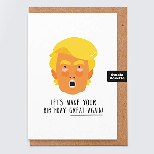 Geburtstagskarte Donald Trump – Geburtstagskarte Trump – Lustige Geburtstagskarte – Maske – Comedy-Geburtstagskarte – Humor – Witz – Geburtstagskarte für Herren – für Vater – Bruder – Freund – Frech