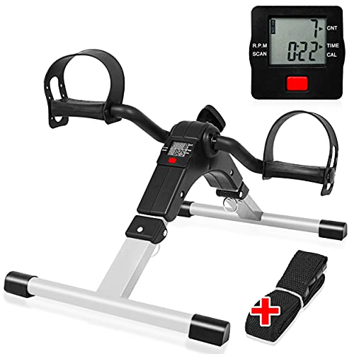 Feesiluu Mini-Pedaltrainer, Fahrrad unter dem Schreibtisch mit elektronischem Display für Bein- und Armtraining, Mini-Schreibtischfahrrad mit Befestigungsgurt für Heim- und Bürofitness