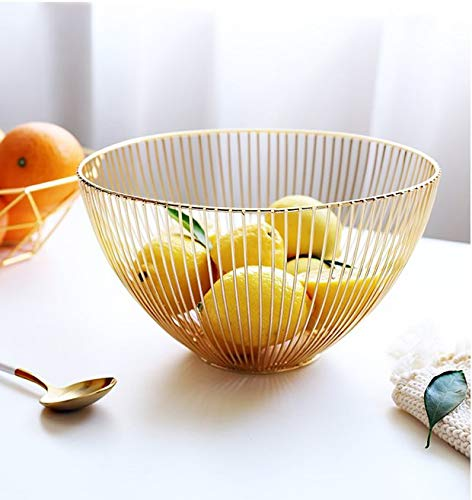Sooyee Metal Wire Fruit Basket,Large Round Storage Baskets for Bread,Fruit,Snacks,Candy,Households Items.Fashion Fruit Bowl Decorate Living Room, Kitchen, Countertop (Golden)