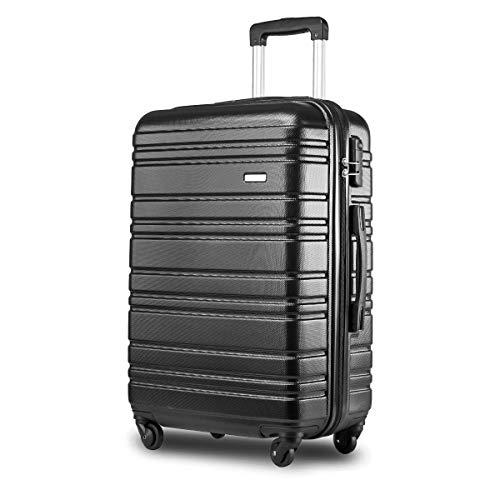 Nishore Lightweight Hard Shell 4 Wheel Travel Trolley Suitcase Luggage Set Holdall Cabin Case (20 (Black)