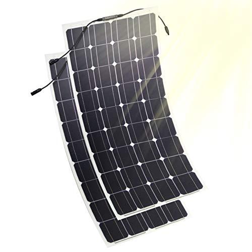 JAYLONG Panneaux Solaires Flexibles 100W, 2 Chargeurs Solaires 12V / 24V, Contrôleur De Charge LCD De Sécurité Inclus, 10 Ans De Durée De Vie,2Pcs