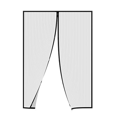 jarolift Insektenschutz Magnetvorhang für Türen Fliegengitter Fliegenschutzvorhang, ohne Bohren, Höhe und Breite kürzbar, 160 x 230 cm (B x H), Schwarz