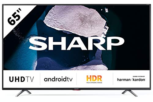 Sharp Aquos 65BN6E 65' Dolby ATMOS Android 9.0 Smart TV 4K Ultra HD, Wi-Fi, DVB-T2/S2, 3840 x 2160 Pixels, Nero, suono Harman Kardon, 3xHDMI 3xUSB, 2020 [Classe di efficienza energetica A]